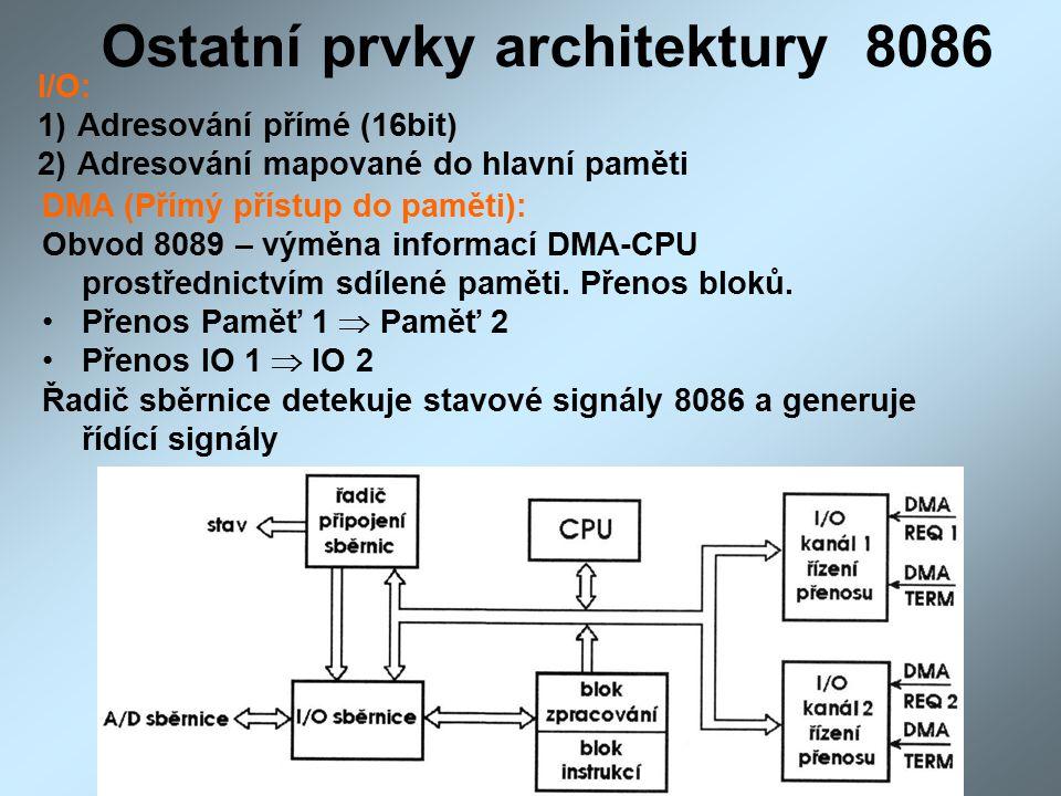 Ostatní prvky architektury 8086 I/O: 1)Adresování přímé (16bit) 2)Adresování mapované do hlavní paměti DMA (Přímý přístup do paměti): Obvod 8089 – výměna informací DMA-CPU prostřednictvím sdílené paměti.