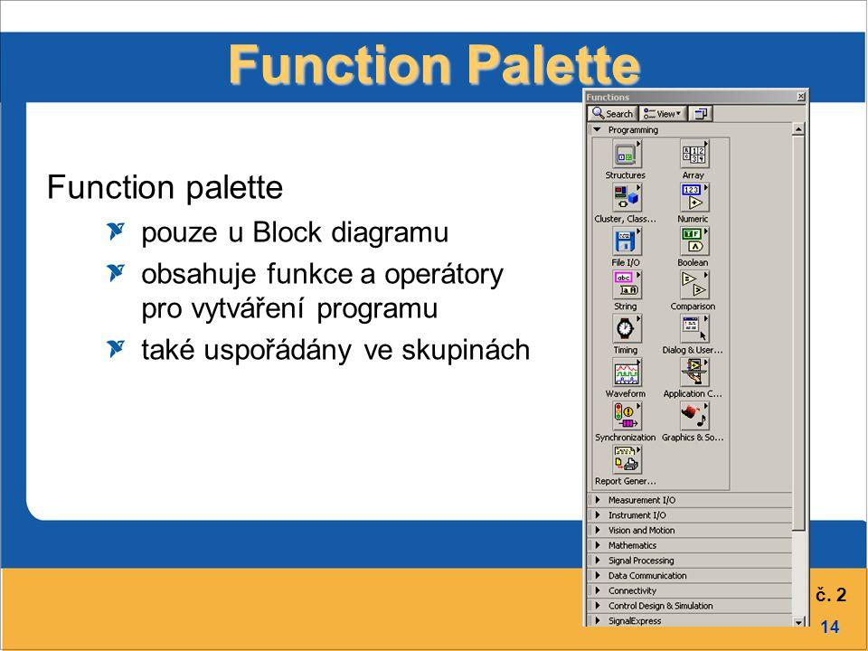 14 Přednáška č. 2 Function Palette Function palette pouze u Block diagramu obsahuje funkce a operátory pro vytváření programu také uspořádány ve skupi