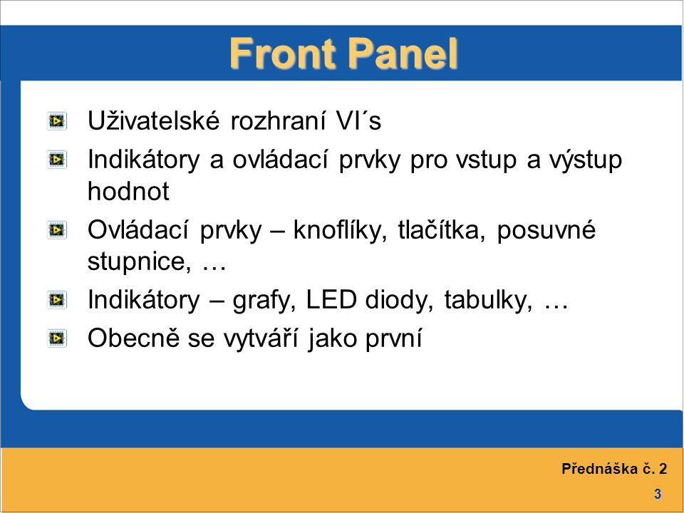 3 Front Panel Uživatelské rozhraní VI´s Indikátory a ovládací prvky pro vstup a výstup hodnot Ovládací prvky – knoflíky, tlačítka, posuvné stupnice, … Indikátory – grafy, LED diody, tabulky, … Obecně se vytváří jako první Přednáška č.