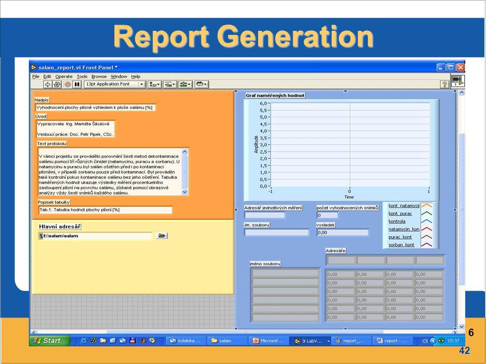 42 Přednáška č. 6 Report Generation