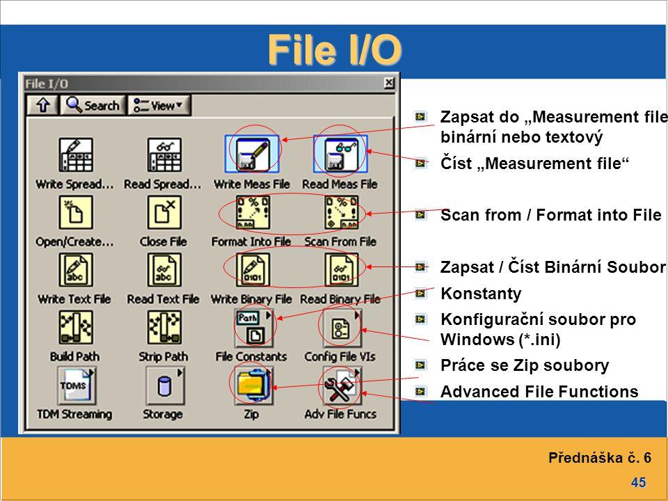 """45 File I/O Zapsat do """"Measurement file - binární nebo textový Číst """"Measurement file Scan from / Format into File Zapsat / Číst Binární Soubor Konstanty Konfigurační soubor pro Windows (*.ini) Práce se Zip soubory Advanced File Functions Přednáška č."""