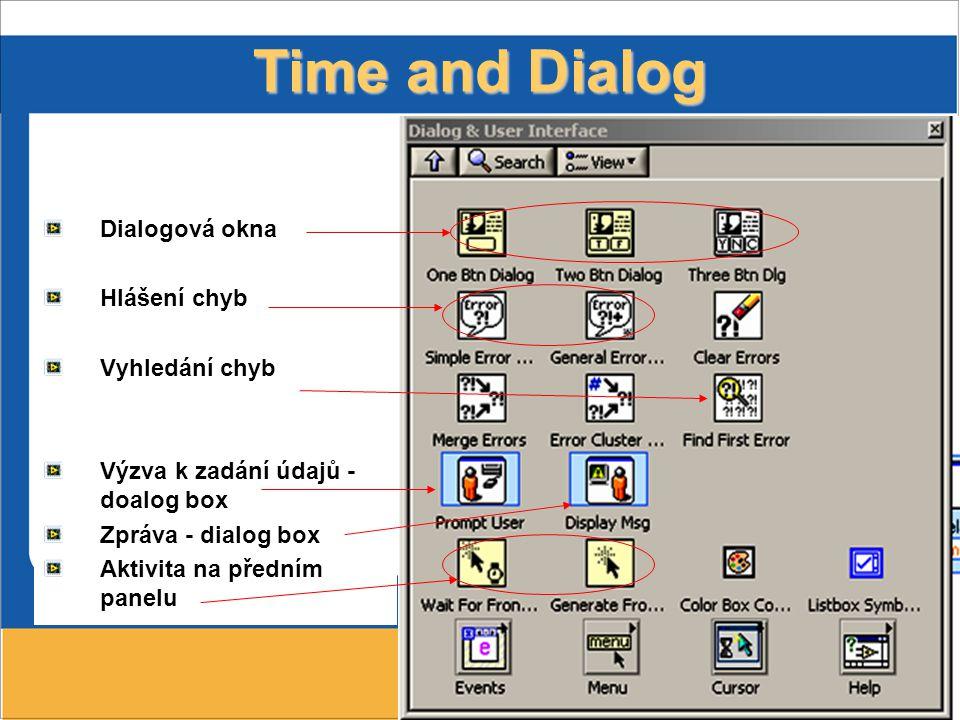 48 Time and Dialog Dialogová okna Hlášení chyb Vyhledání chyb Výzva k zadání údajů - doalog box Zpráva - dialog box Aktivita na předním panelu