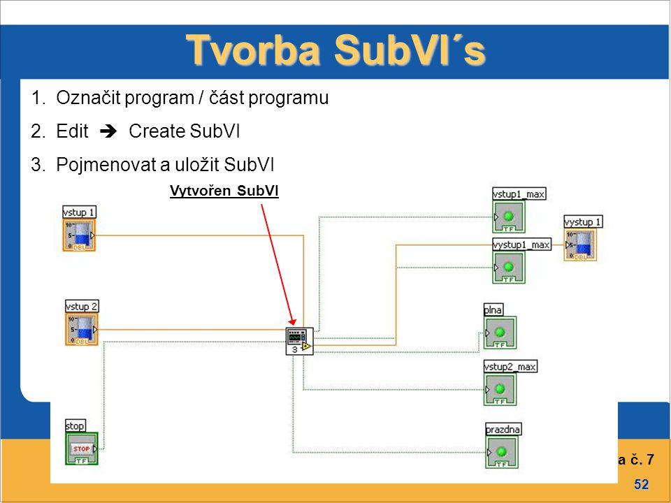 52 Přednáška č. 7 Původní program Tvorba SubVI´s Vytvořen SubVI 1.Označit program / část programu 2.Edit  Create SubVI 3.Pojmenovat a uložit SubVI