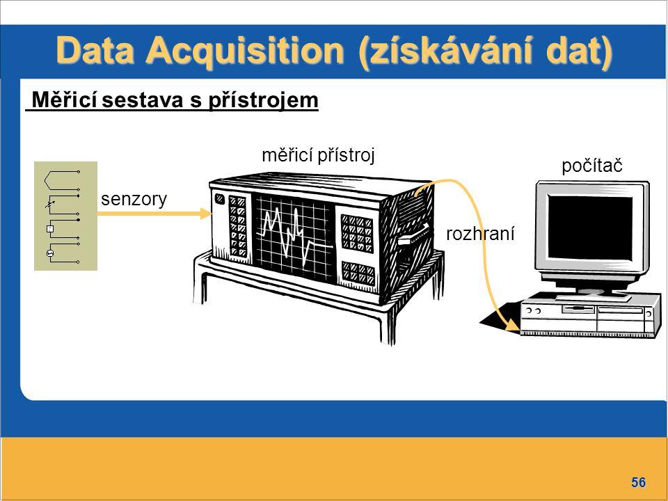 56 měřicí přístroj Data Acquisition (získávání dat) senzory Měřicí sestava s přístrojem počítač rozhraní