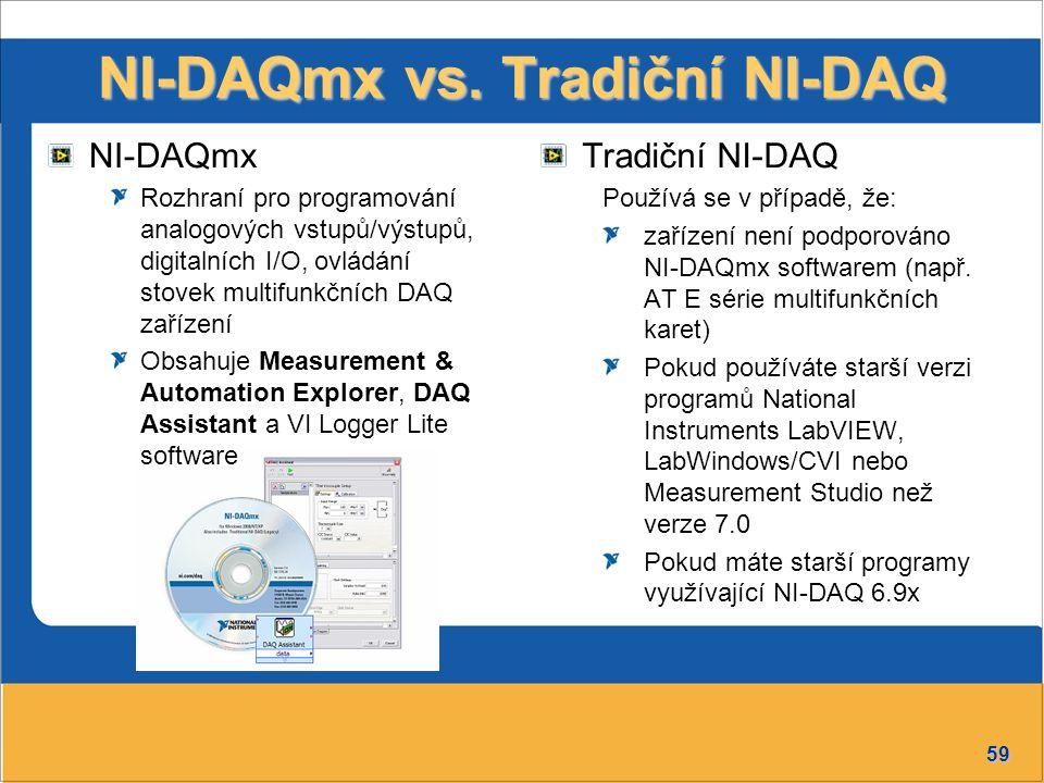 59 NI-DAQmx vs. Tradiční NI-DAQ Tradiční NI-DAQ Používá se v případě, že: zařízení není podporováno NI-DAQmx softwarem (např. AT E série multifunkčníc