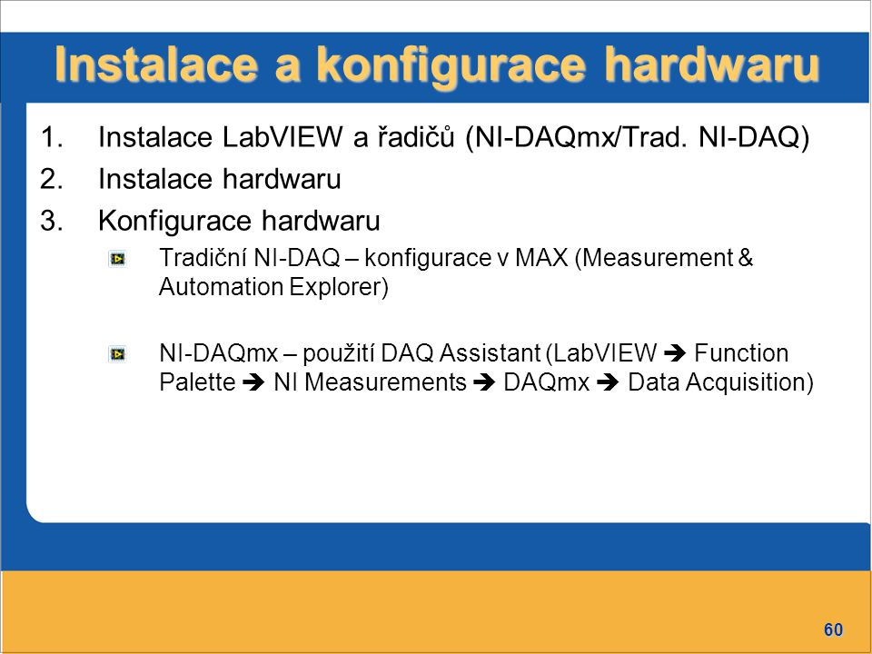 60 Instalace a konfigurace hardwaru 1.Instalace LabVIEW a řadičů (NI-DAQmx/Trad.
