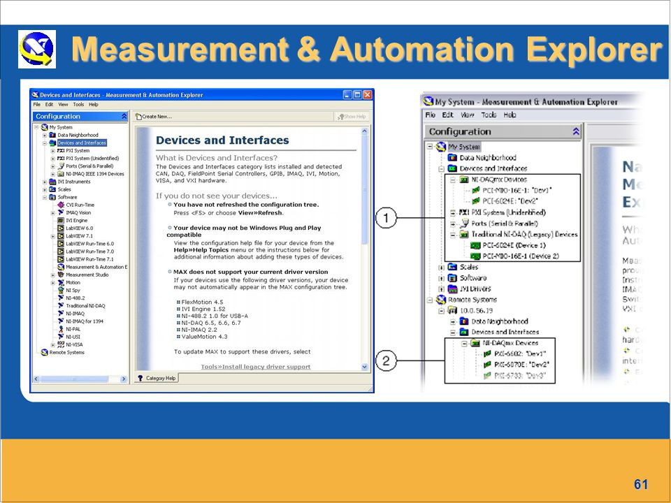 61 Measurement & Automation Explorer