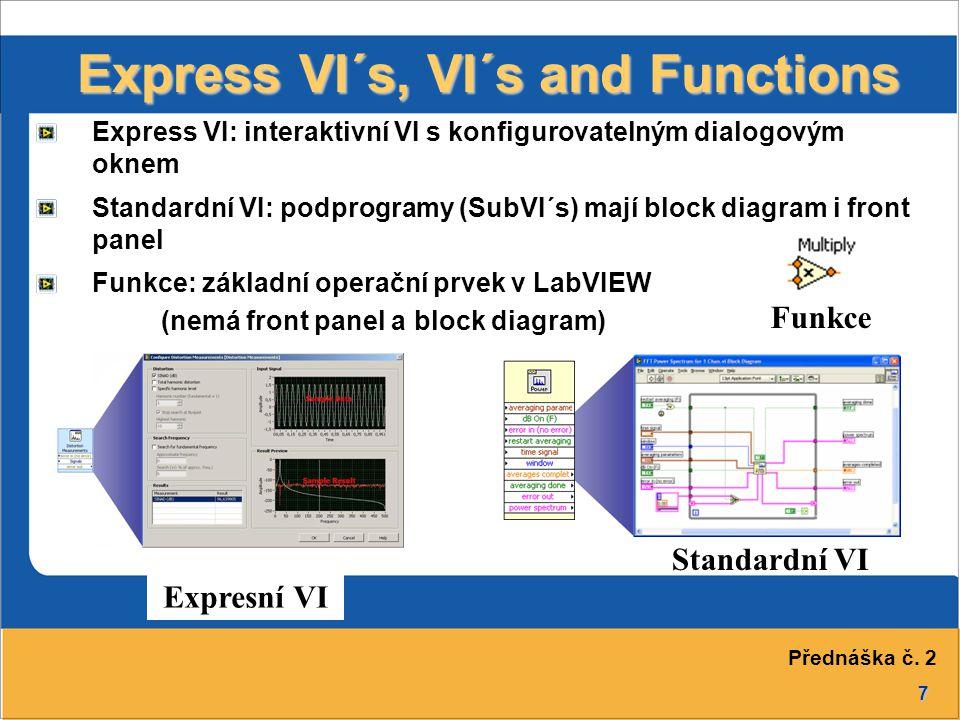7 Express VI´s, VI´s and Functions Standardní VI Funkce Express VI: interaktivní VI s konfigurovatelným dialogovým oknem Standardní VI: podprogramy (S