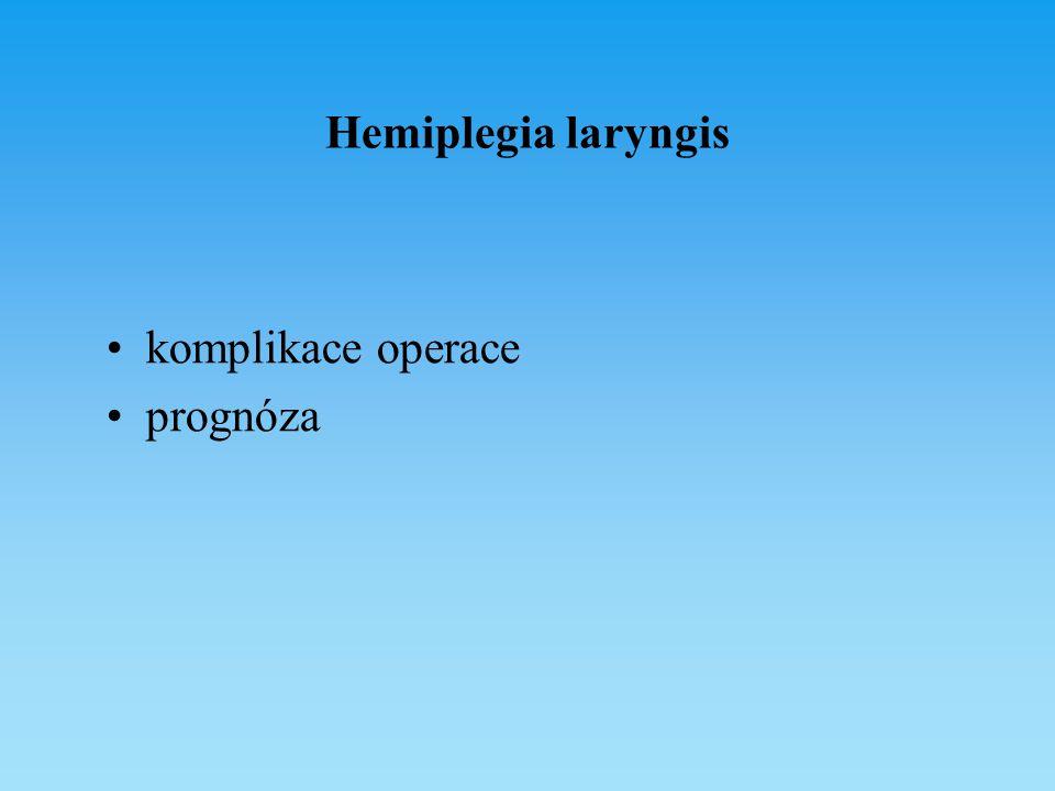 Hemiplegia laryngis komplikace operace prognóza