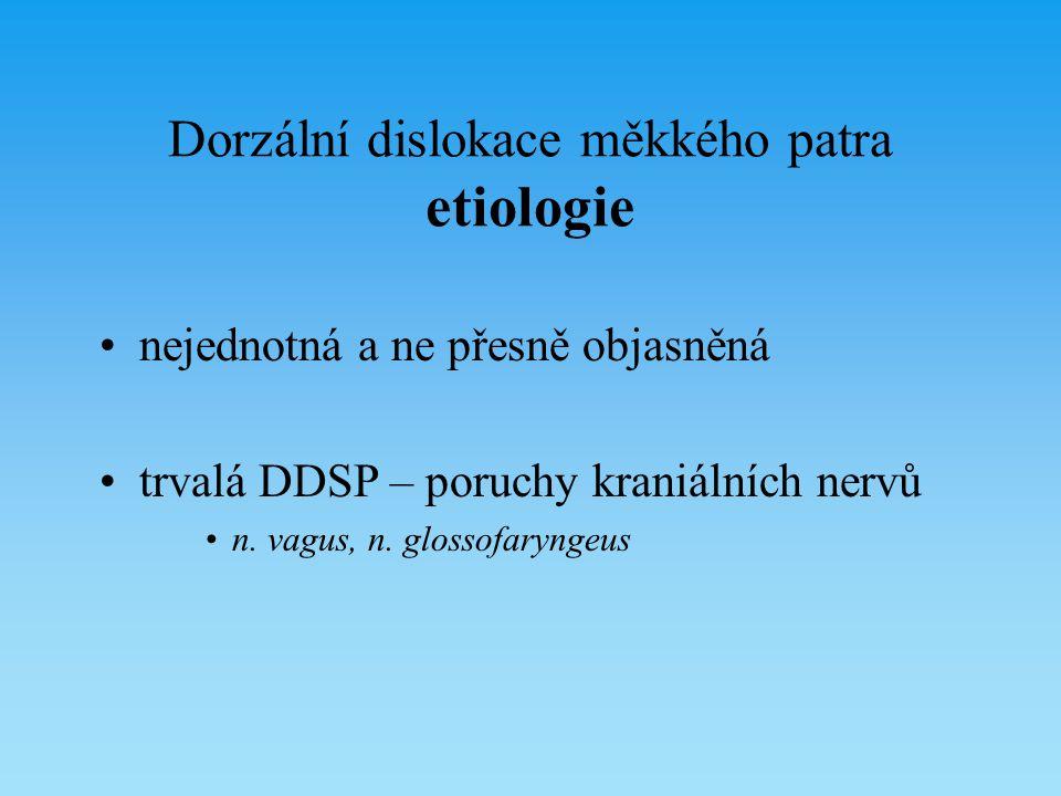 Dorzální dislokace měkkého patra etiologie nejednotná a ne přesně objasněná trvalá DDSP – poruchy kraniálních nervů n. vagus, n. glossofaryngeus