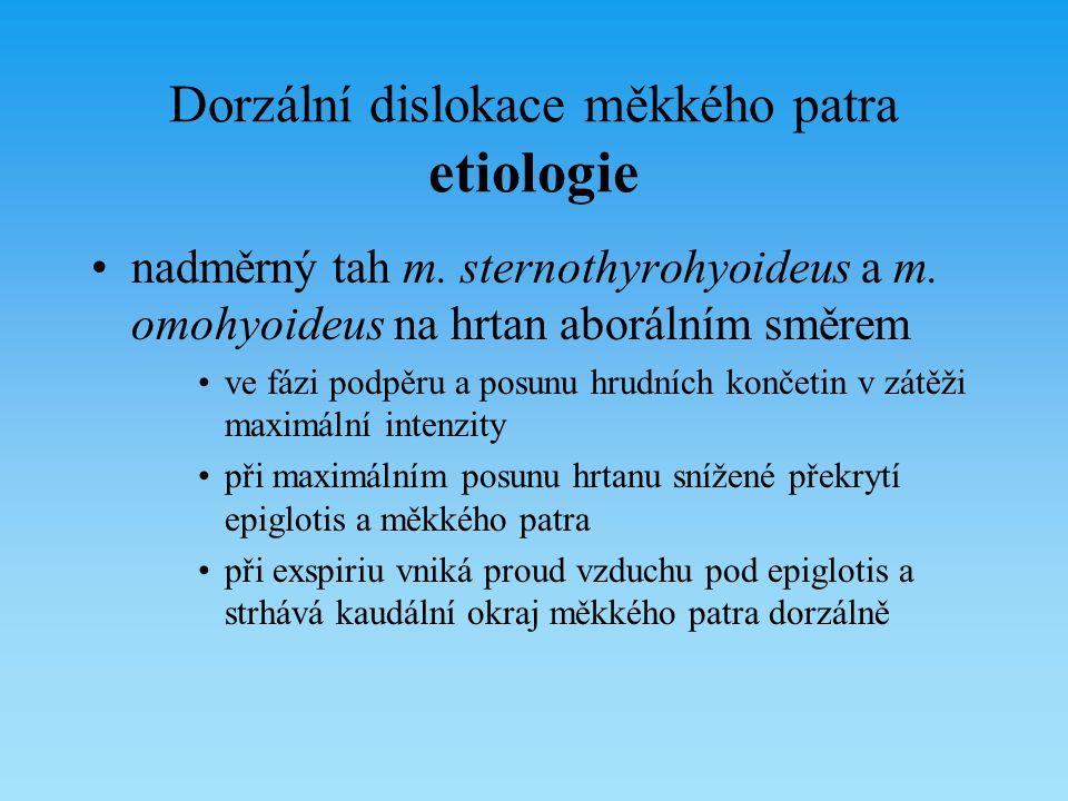 Dorzální dislokace měkkého patra etiologie nadměrný tah m. sternothyrohyoideus a m. omohyoideus na hrtan aborálním směrem ve fázi podpěru a posunu hru
