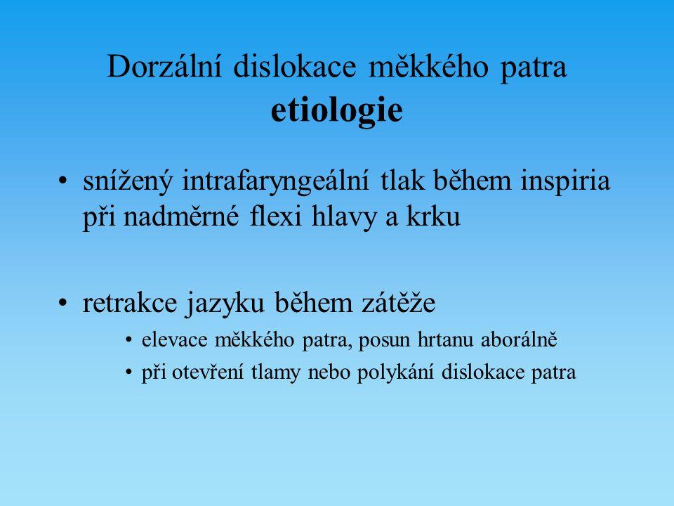 Dorzální dislokace měkkého patra etiologie snížený intrafaryngeální tlak během inspiria při nadměrné flexi hlavy a krku retrakce jazyku během zátěže e