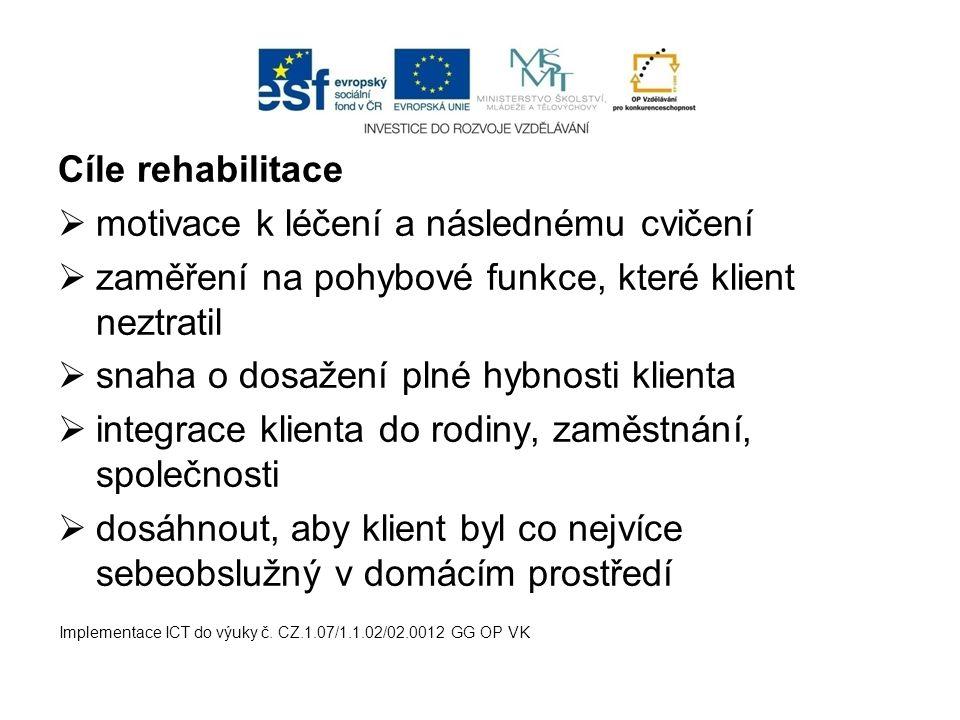 Cíle rehabilitace  motivace k léčení a následnému cvičení  zaměření na pohybové funkce, které klient neztratil  snaha o dosažení plné hybnosti klie