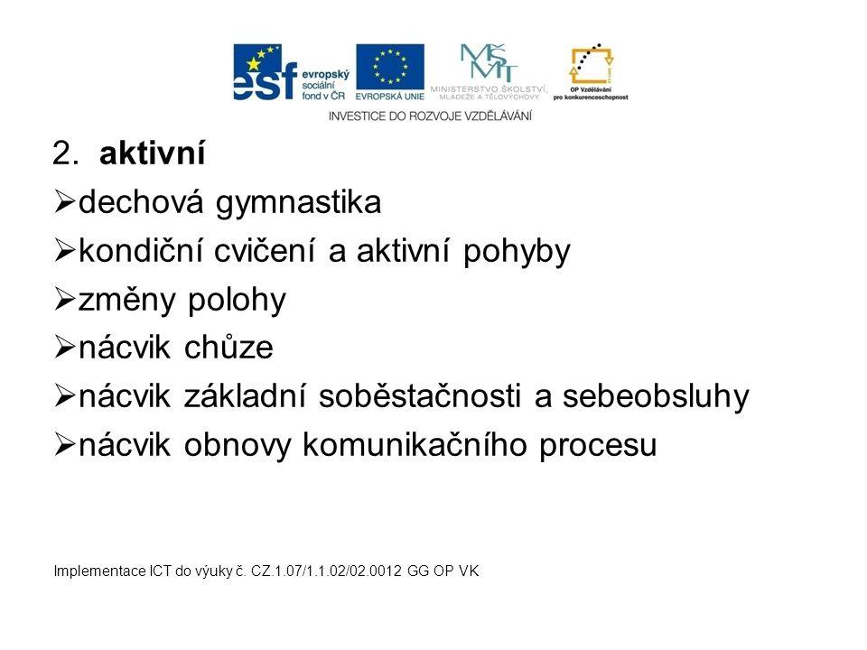 2. aktivní  dechová gymnastika  kondiční cvičení a aktivní pohyby  změny polohy  nácvik chůze  nácvik základní soběstačnosti a sebeobsluhy  nácv