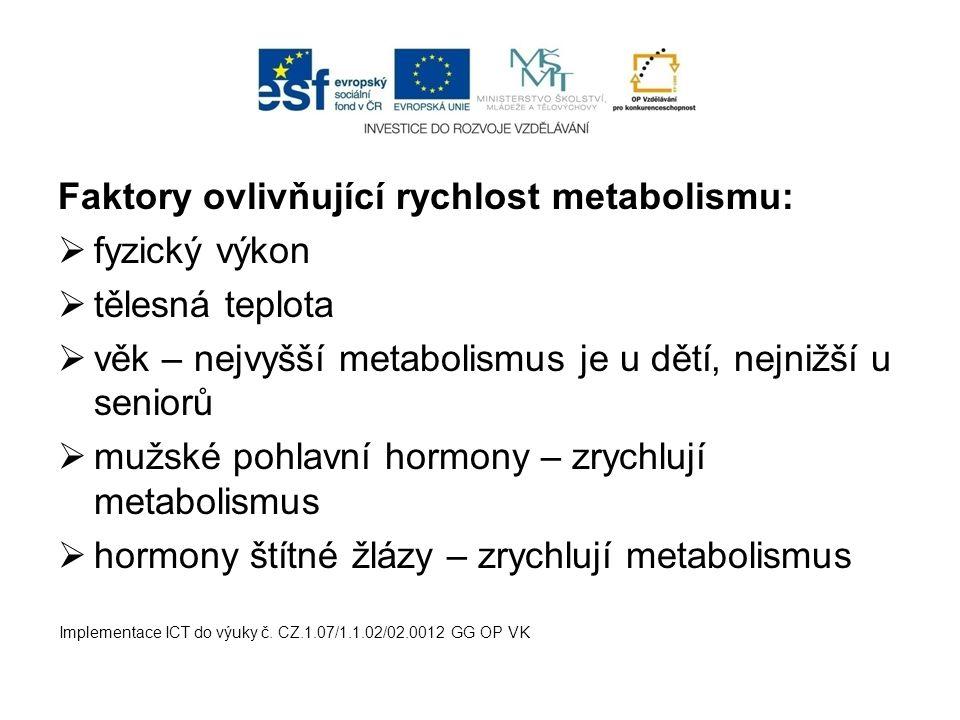Faktory ovlivňující rychlost metabolismu:  fyzický výkon  tělesná teplota  věk – nejvyšší metabolismus je u dětí, nejnižší u seniorů  mužské pohla