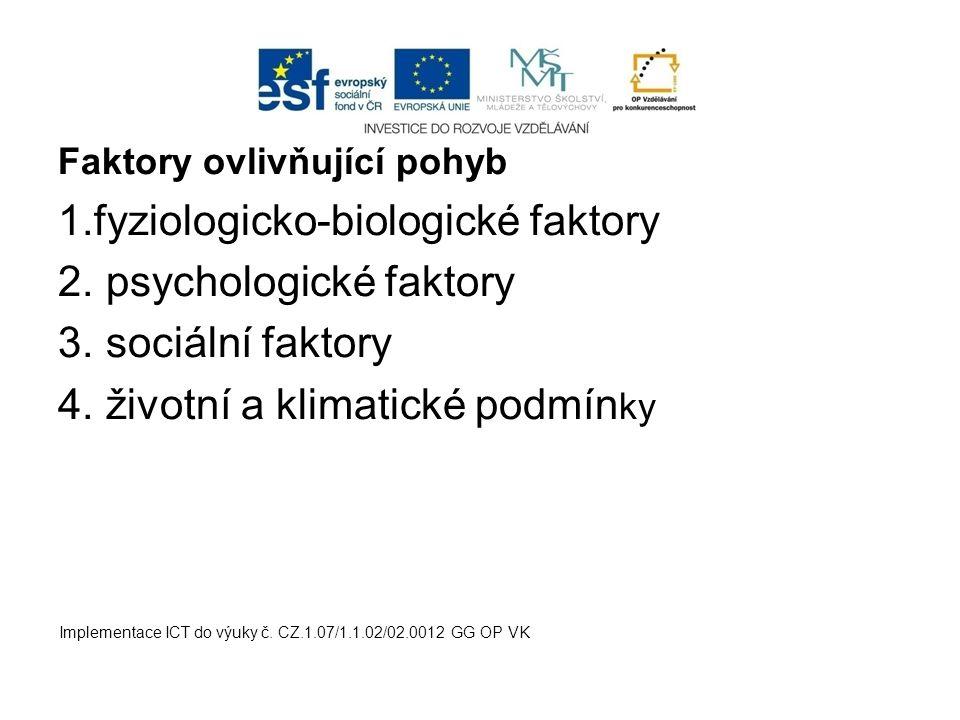 Faktory ovlivňující pohyb 1.fyziologicko-biologické faktory 2. psychologické faktory 3. sociální faktory 4. životní a klimatické podmín ky Implementac