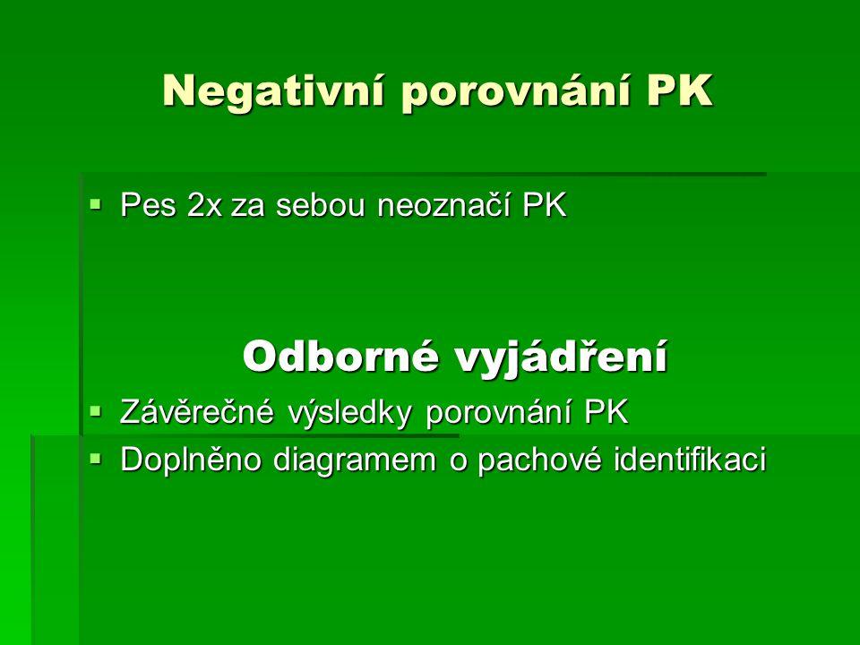 Negativní porovnání PK  Pes 2x za sebou neoznačí PK Odborné vyjádření  Závěrečné výsledky porovnání PK  Doplněno diagramem o pachové identifikaci