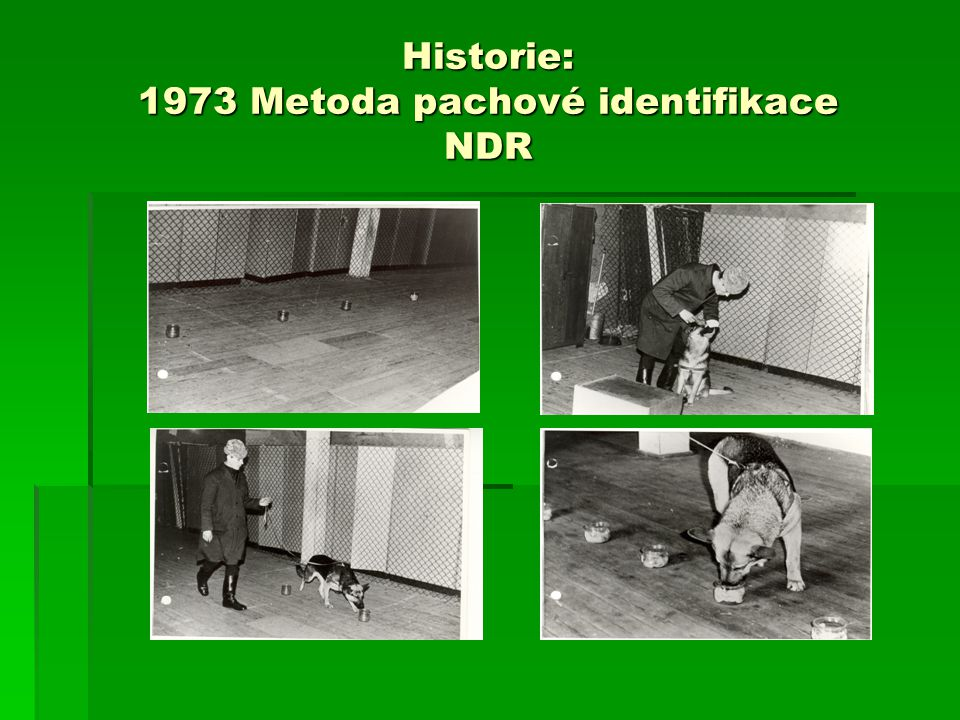 Historie: 1973 Metoda pachové identifikace NDR