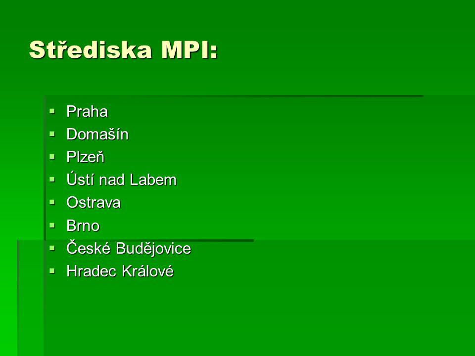 Střediska MPI:  Praha  Domašín  Plzeň  Ústí nad Labem  Ostrava  Brno  České Budějovice  Hradec Králové