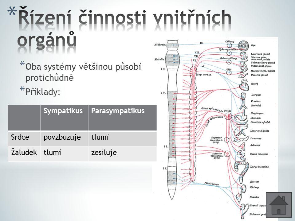 * Oba systémy většinou působí protichůdně * Příklady: SympatikusParasympatikus Srdcepovzbuzujetlumí Žaludektlumízesiluje