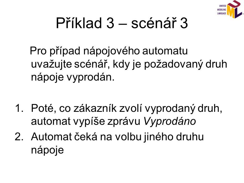 Příklad 3 – scénář 3 Pro případ nápojového automatu uvažujte scénář, kdy je požadovaný druh nápoje vyprodán. 1.Poté, co zákazník zvolí vyprodaný druh,