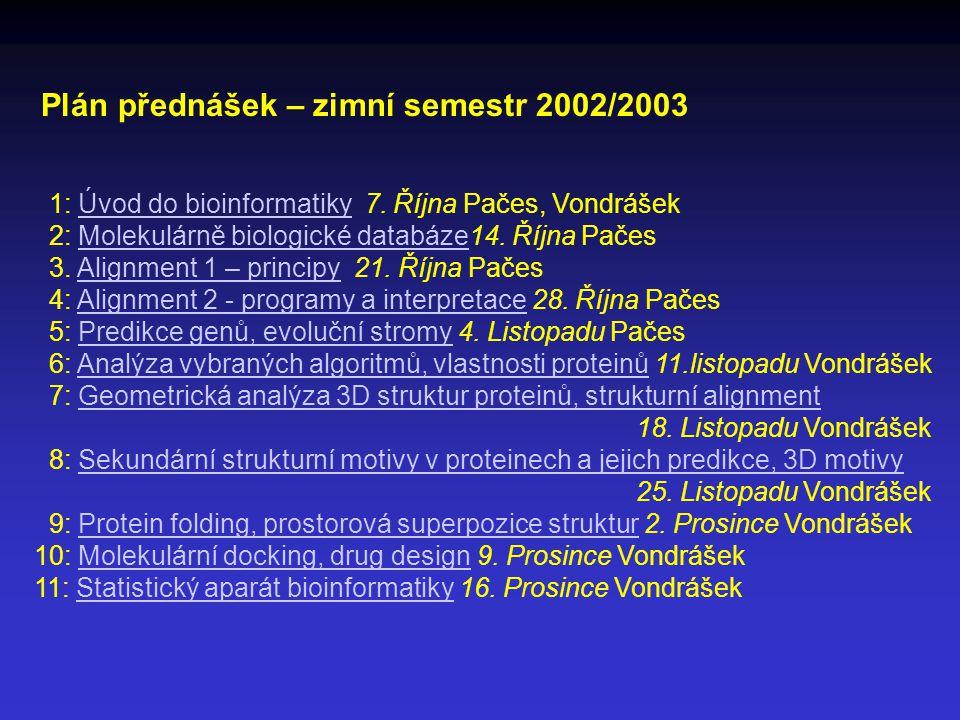 Plán přednášek – zimní semestr 2002/2003 1: Úvod do bioinformatiky 7.