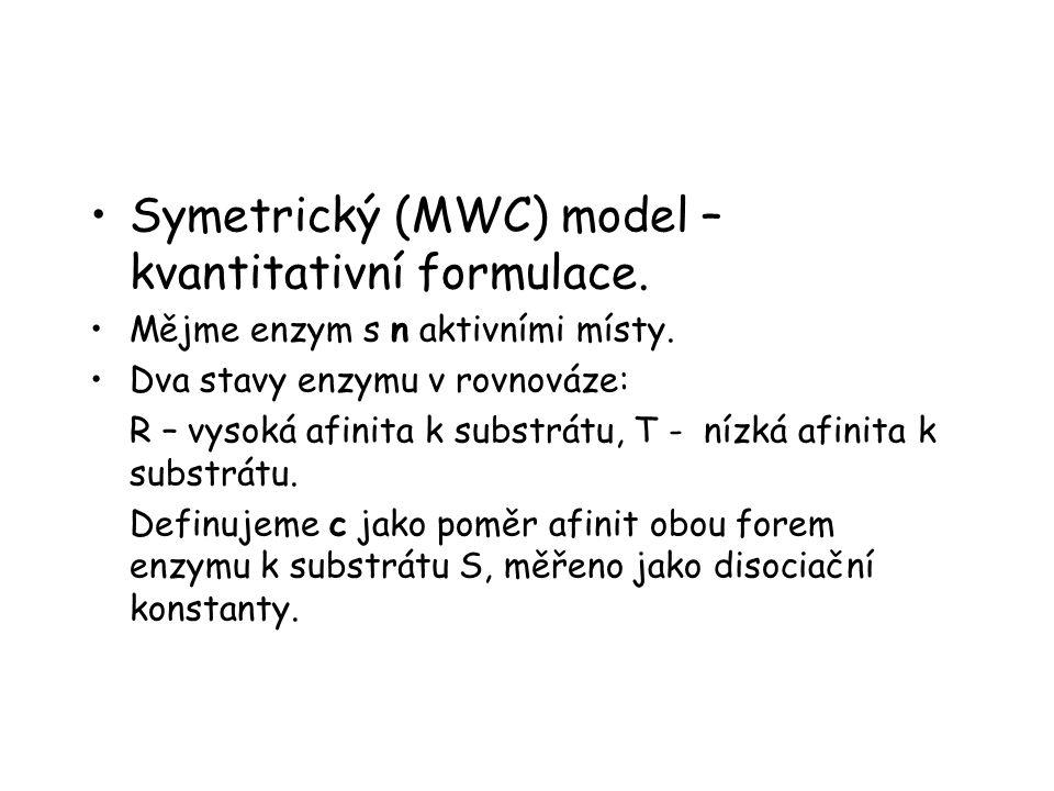 Symetrický (MWC) model – kvantitativní formulace.Mějme enzym s n aktivními místy.