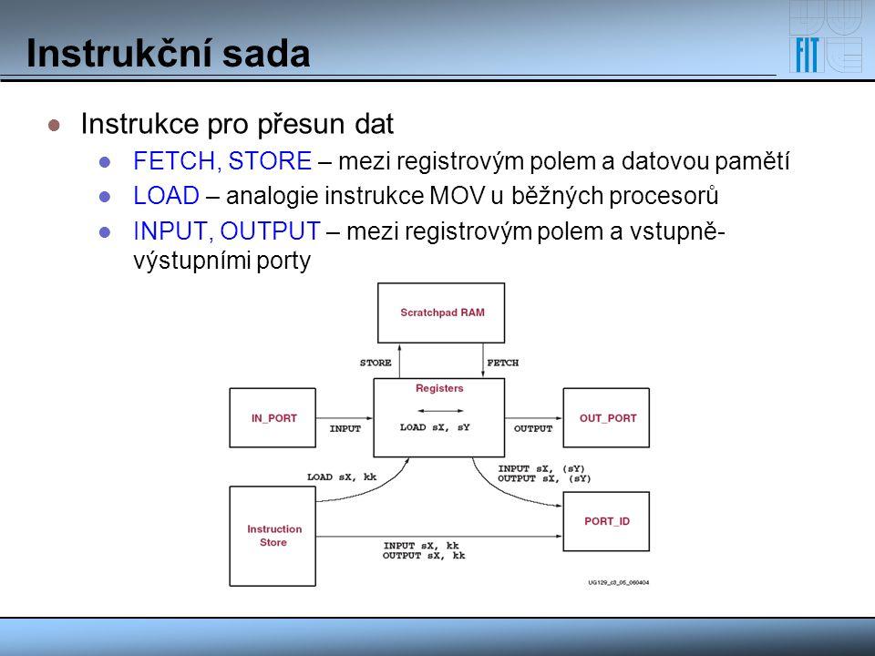 Instrukční sada Instrukce pro přesun dat FETCH, STORE – mezi registrovým polem a datovou pamětí LOAD – analogie instrukce MOV u běžných procesorů INPU