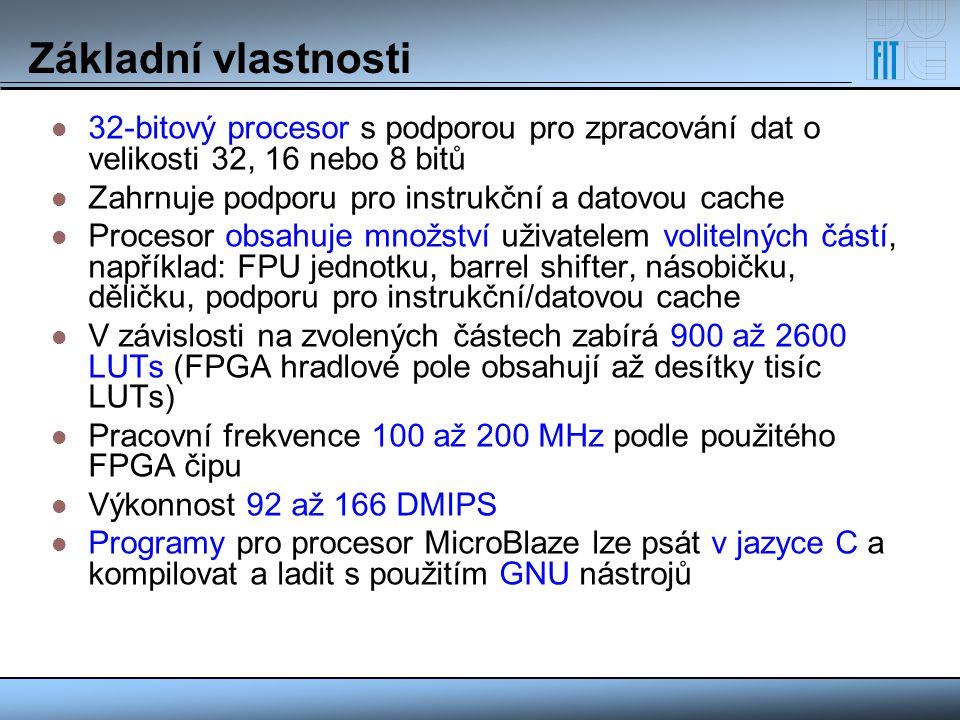 Základní vlastnosti 32-bitový procesor s podporou pro zpracování dat o velikosti 32, 16 nebo 8 bitů Zahrnuje podporu pro instrukční a datovou cache Pr