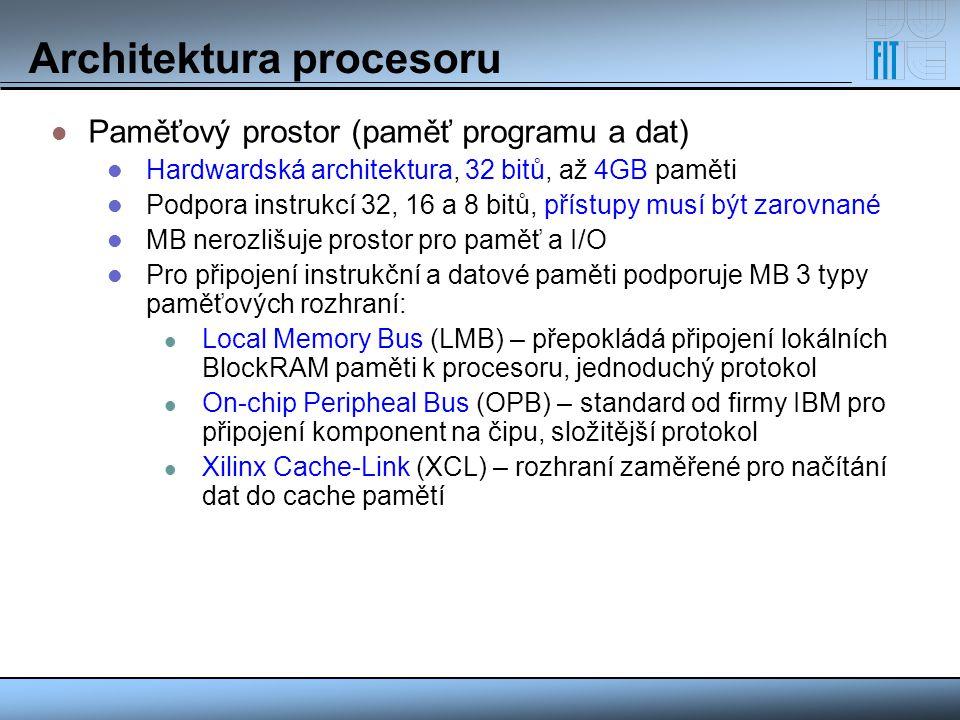 Architektura procesoru Paměťový prostor (paměť programu a dat) Hardwardská architektura, 32 bitů, až 4GB paměti Podpora instrukcí 32, 16 a 8 bitů, pří