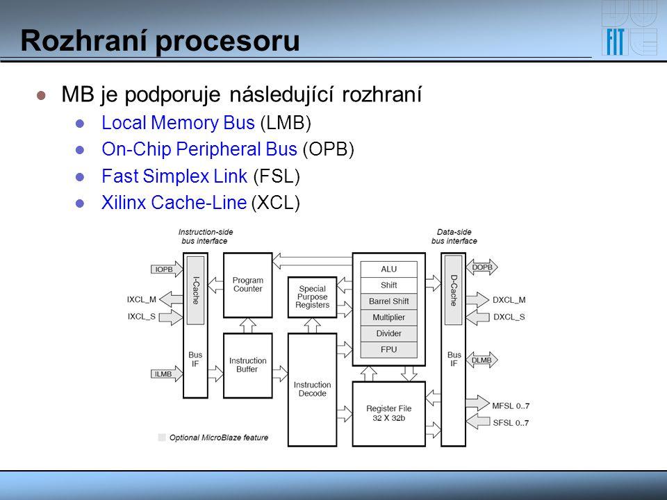 Rozhraní procesoru MB je podporuje následující rozhraní Local Memory Bus (LMB) On-Chip Peripheral Bus (OPB) Fast Simplex Link (FSL) Xilinx Cache-Line