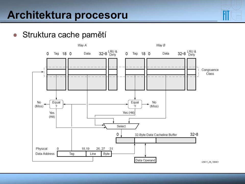 Architektura procesoru Struktura cache pamětí