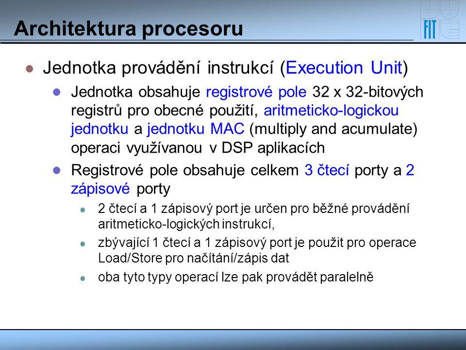 Architektura procesoru Jednotka provádění instrukcí (Execution Unit) Jednotka obsahuje registrové pole 32 x 32-bitových registrů pro obecné použití, a