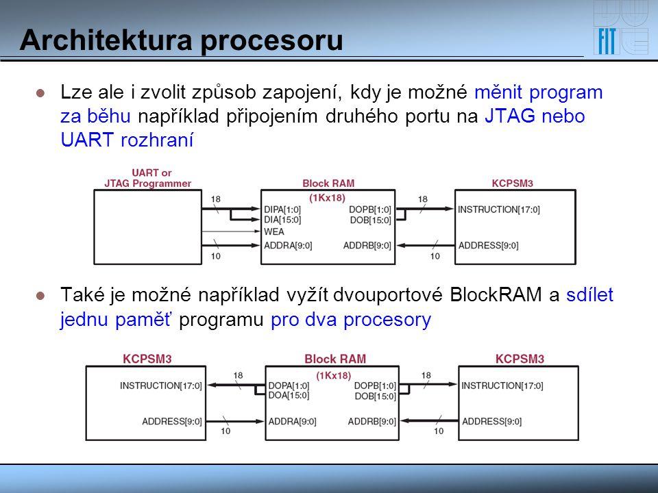 Architektura procesoru Registrové pole 16 registrů o velikosti 8 bitů pro obecné použití (žádný z nich není použit pro speciální účel) Zásobník pro volání podprogramu 31 položek (jedna položka je rezervována pro případ přerušení), pokud přeteče, začnou se položky přepisovat Datová paměť (Scratchpad Memory) paměť o pevné velikosti 64 bajtů podporuje přímé i nepřímé adresování (pomocí registru) prostřednictvím instrukcí FETCH/STORE vhodné pro odkládaní dat, implementaci zásobníku, vyhledávací tabulky apod.