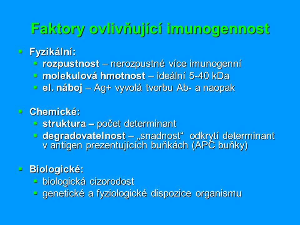 Faktory ovlivňující imunogennost  Fyzikální:  rozpustnost – nerozpustné více imunogenní  molekulová hmotnost – ideální 5-40 kDa  el. náboj – Ag+ v