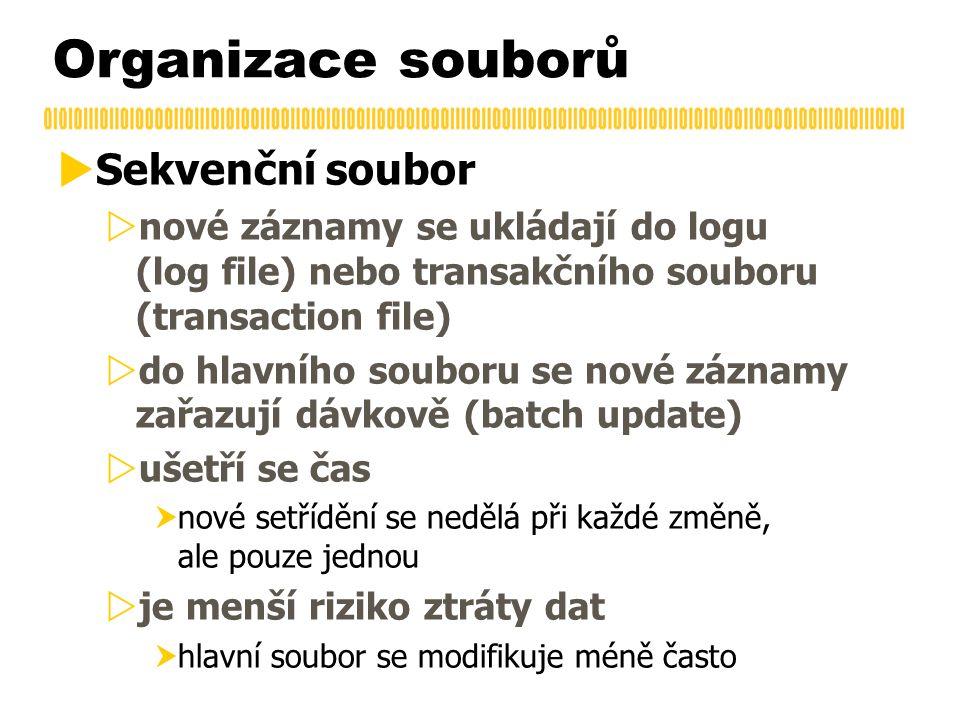 Organizace souborů  Sekvenční soubor  nové záznamy se ukládají do logu (log file) nebo transakčního souboru (transaction file)  do hlavního souboru
