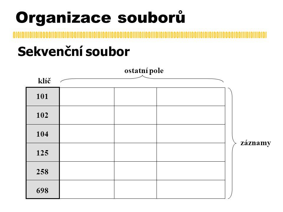 Organizace souborů Sekvenční soubor klíč záznamy ostatní pole 101 102 104 125 258 698