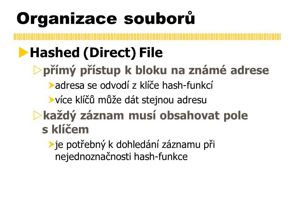 Organizace souborů  Hashed (Direct) File  přímý přístup k bloku na známé adrese  adresa se odvodí z klíče hash-funkcí  více klíčů může dát stejnou adresu  každý záznam musí obsahovat pole s klíčem  je potřebný k dohledání záznamu při nejednoznačnosti hash-funkce