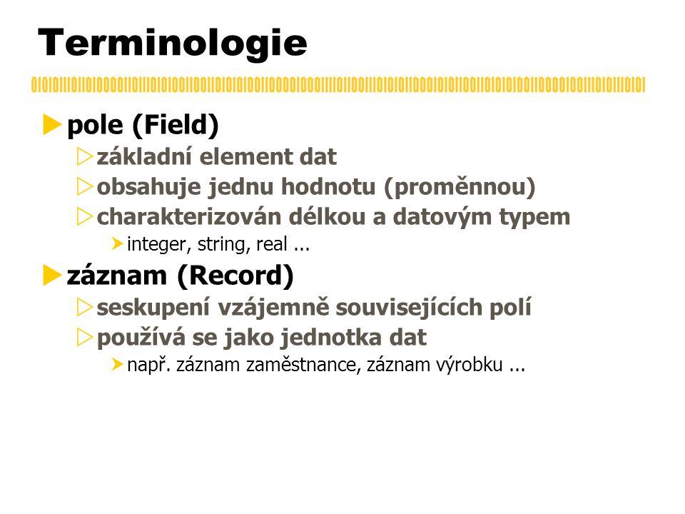 Terminologie  pole (Field)  základní element dat  obsahuje jednu hodnotu (proměnnou)  charakterizován délkou a datovým typem  integer, string, real...