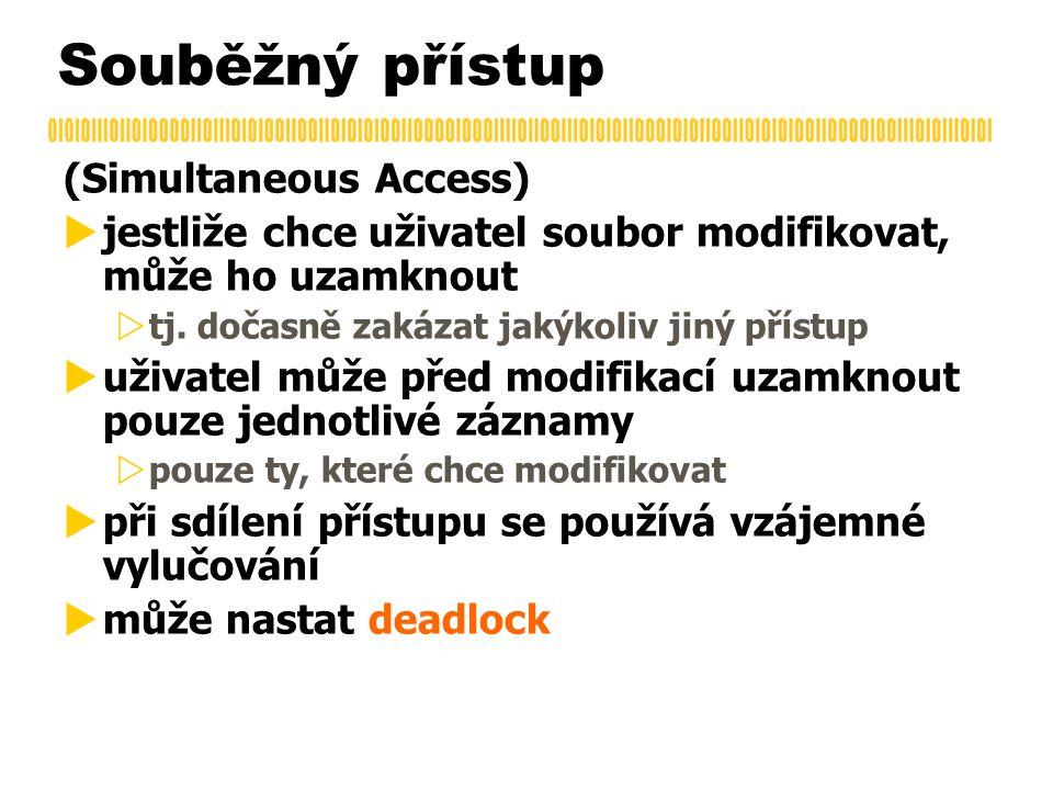 Souběžný přístup (Simultaneous Access)  jestliže chce uživatel soubor modifikovat, může ho uzamknout  tj. dočasně zakázat jakýkoliv jiný přístup  u