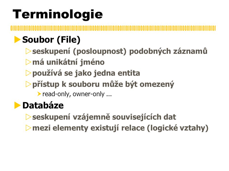 Terminologie  Soubor (File)  seskupení (posloupnost) podobných záznamů  má unikátní jméno  používá se jako jedna entita  přístup k souboru může být omezený  read-only, owner-only...