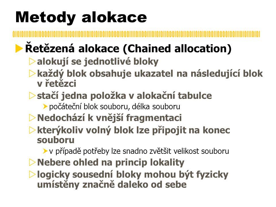  Řetězená alokace (Chained allocation)  alokují se jednotlivé bloky  každý blok obsahuje ukazatel na následující blok v řetězci  stačí jedna polož