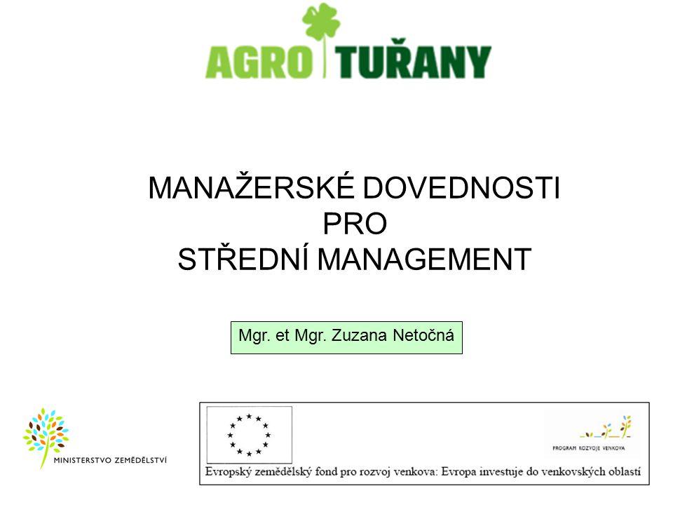 MANAŽERSKÉ DOVEDNOSTI PRO STŘEDNÍ MANAGEMENT Mgr. et Mgr. Zuzana Netočná