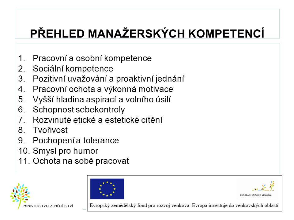 PŘEHLED MANAŽERSKÝCH KOMPETENCÍ 1.Pracovní a osobní kompetence 2.Sociální kompetence 3.Pozitivní uvažování a proaktivní jednání 4.Pracovní ochota a vý