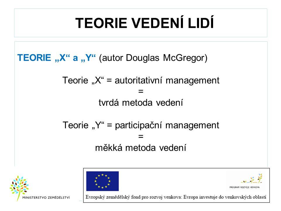 "TEORIE VEDENÍ LIDÍ TEORIE ""X"" a ""Y"" (autor Douglas McGregor) Teorie ""X"" = autoritativní management = tvrdá metoda vedení Teorie ""Y"" = participační man"