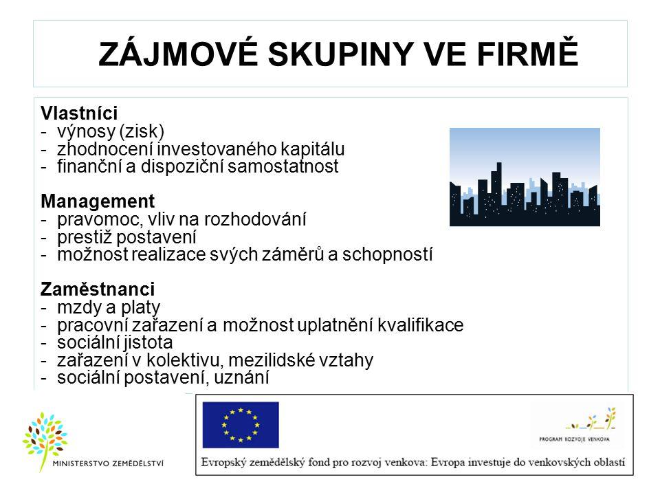 ZÁJMOVÉ SKUPINY VE FIRMĚ Vlastníci - výnosy (zisk) - zhodnocení investovaného kapitálu - finanční a dispoziční samostatnost Management - pravomoc, vli