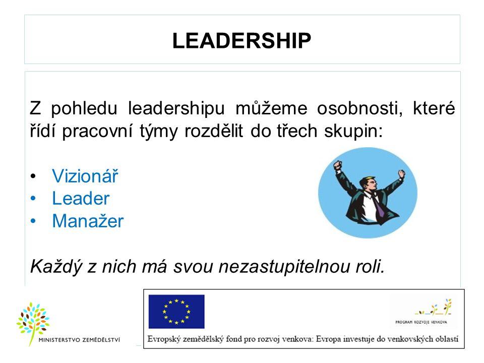 LEADERSHIP Z pohledu leadershipu můžeme osobnosti, které řídí pracovní týmy rozdělit do třech skupin: Vizionář Leader Manažer Každý z nich má svou nez
