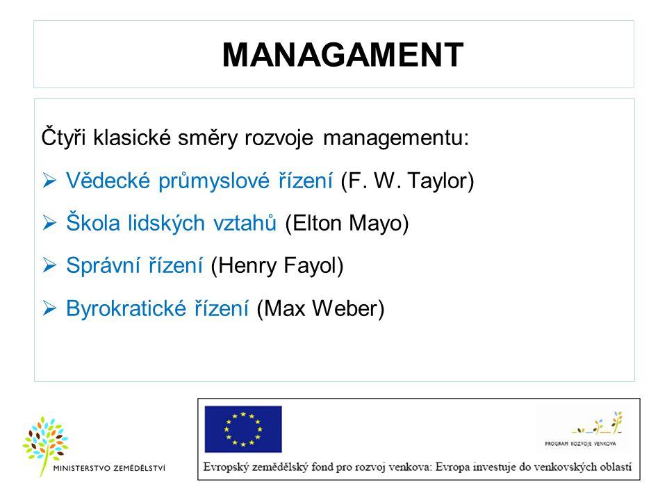 MANAGAMENT Čtyři klasické směry rozvoje managementu:  Vědecké průmyslové řízení (F. W. Taylor)  Škola lidských vztahů (Elton Mayo)  Správní řízení