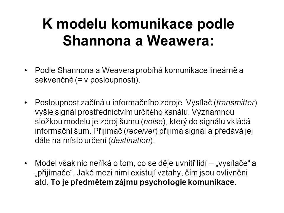 K modelu komunikace podle Shannona a Weawera: Podle Shannona a Weavera probíhá komunikace lineárně a sekvenčně (= v posloupnosti).