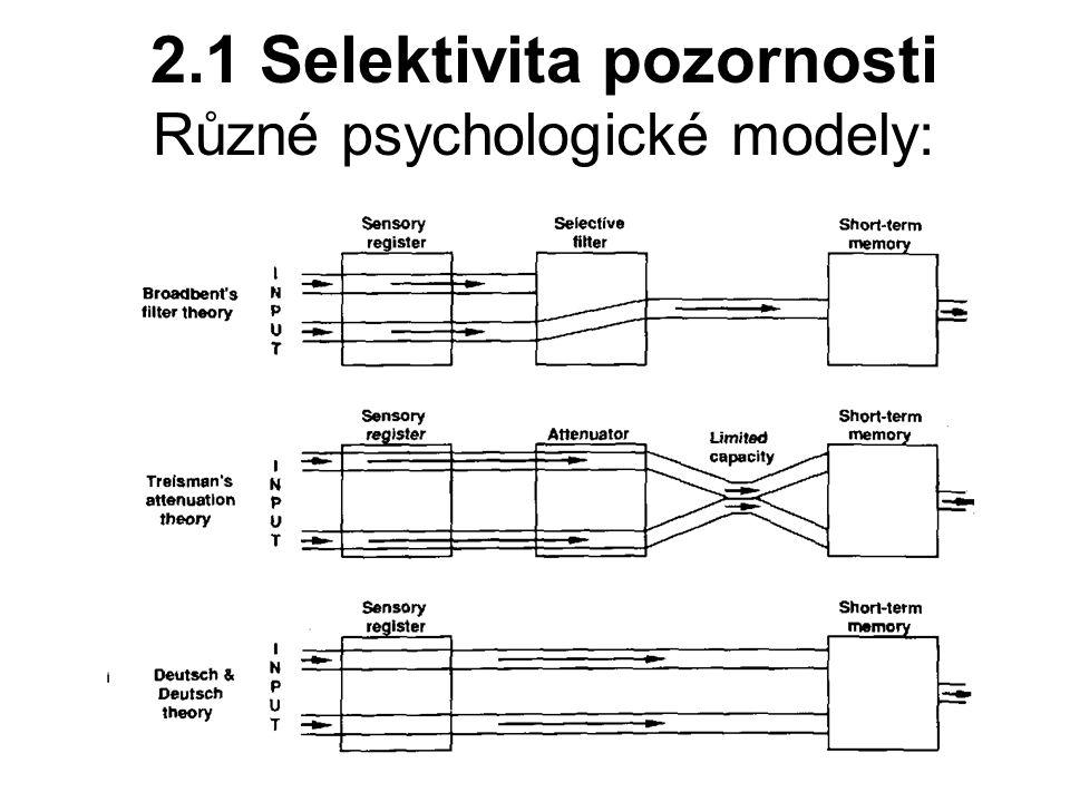 2.1 Selektivita pozornosti Různé psychologické modely:
